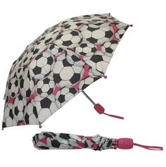 Got a little tomboy in your household?  This folding backpack umbrella with soccer balls and just a hint of pink is perfect for them!  Now on clearance for just CAD$10