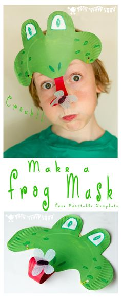 Make a long tongued, fly catching paper plate Frog Mask, perfect for Spring and Summer play activities. Croak, Croak, Ribbit!