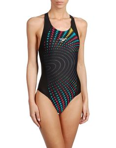 women's speedo one piece tank bathing suit in black print with thick wide strap racerback athletic swimwear.