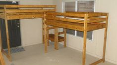 L-shaped double loft twin beds with multi levels