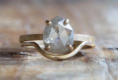 rose cut grey diamond ring + wedding band  ::  Alexis Russell