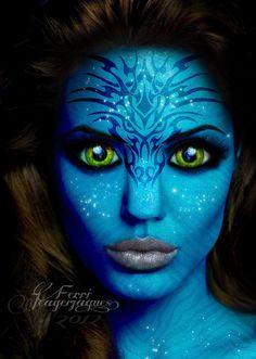 Alien Makeup, Sfx Makeup, Costume Makeup, Avatar Costumes, Creepy Costumes, Fantasy Hair, Fantasy Makeup, Maquillage Halloween, Halloween Face Makeup