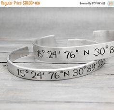 Latitude Longitude Bracelet Coordinate Bracelet Coordinate Cuff Personalized Gift Idea Personalized Jewelry (11.39 USD) by PureImpressions