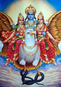 Sri Devi, Bhumi Devi, Lord Vishnu on Garuda Radha Krishna Photo, Krishna Art, Krishna Images, Lord Krishna, Lord Shiva, Krishna Lila, Lakshmi Images, Shree Krishna Wallpapers, Lord Vishnu Wallpapers