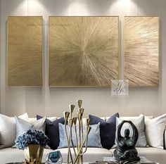 Extra Large Wall Art Abstract Painting Set of 3 Gold Leaf image 1 Living Room Pictures, Wall Art Pictures, Art Feuille D'or, Grand Art Mural, Art Texture, Gold Leaf Art, Gold Art, Hallway Wall Decor, Abstract Canvas Art