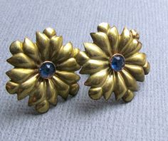 Antique Flower Earrings Blue Center Stone 12 kt GF by vintagepaige