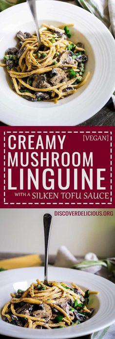 Creamy Mushroom Linguine | www.discoverdelicious.org | Vegan Food Blog