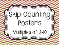Skip Counting Posters: Multiples 2-10 {FREE!}