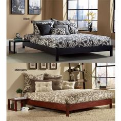 @Overstock - Perfect for those with small living spaces and a minimalistic decor, this compact queen-size platform bed was designed for use without a bulky headboard. Available in black or mahogany, this bed gives a contemporary feel to any bedroom. http://www.overstock.com/Home-Garden/Murray-Queen-size-Platform-Bed/4362136/product.html?CID=214117 $269.99