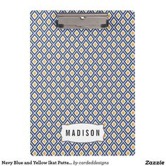 Navy Blue and Yellow Ikat Pattern Monogram Clipboards