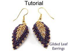 Earrings Tutorial Pattern Beading Beaded Russian Leaf Earring Fall Jewelry Seed Beads Diagonal Peyote Stitch Beadwoven #9523