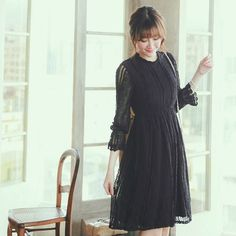 Collared A Line Lace Dress - Strawberrycoco