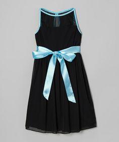 Look what I found on #zulily! Black & Aqua Illusion Dress #zulilyfinds