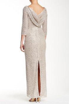 Kay Unger V-Neck Sequined Cowl Gown