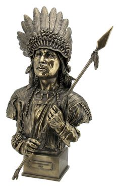 Native American Art Sitting Bull Indian Chief Mohican Bronze Marble Statue Gift