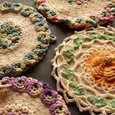 Crochet Hot Pad Pot Holder Pastel Instant Collection Wall Hanging Artwork from Vintage Resolution. $44.00, via Etsy.