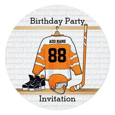 Shop Orange and White Ice Hockey Jersey Birthday Party Invitation created by giftsbonanza. Hockey Birthday Parties, Hockey Party, Soccer Birthday, Kids Birthday Cards, Birthday Ideas, Invitation Fete, Birthday Party Invitations, Personalized Invitations, Custom Invitations