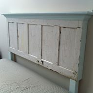 King size door headboard with light blue accents