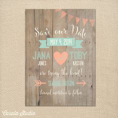 Omg I love these!!!!!Whimsical Rustic Wood Mint and Peach Save the Date by casalastudio, $16.00