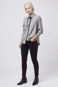 Velvet Tie Checked Shirt - Topshop