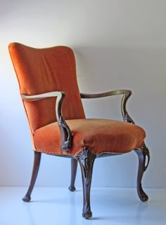 antique orange velvet Victorian arm chair by ModishVintage on Etsy, $350.00