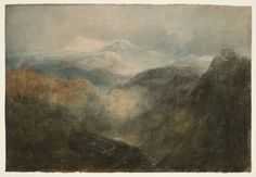 Joseph Mallord William Turner 'Looking down a Deep Valley towards Snowdon, with an Army on the March', 1799–1800