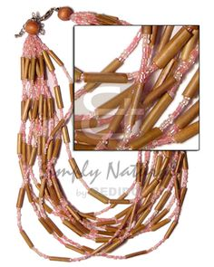 12 Layer Bamboo Tube  Old Rose Glass Beads And Wood Beads Bamboo Necklace