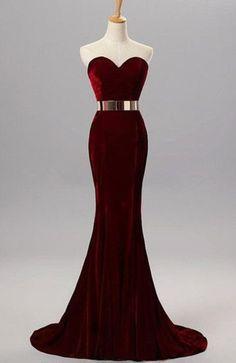 Burgundy Mermaid Sweetheart Evening Gowns With Belt Velvet Simple Formal…