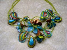Tres Jolie Designs by Sue Polymer Clay Necklace, Polymer Clay Earrings, Biscuit, Clay Design, Fimo Clay, Clay Creations, Bead Art, Jewelry Making, Green Necklace