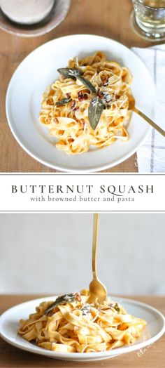 Browned Butter Butternut Squash Pasta A delicious pasta recipe perfect for a fall dinner! Enjoy the flavors of browned butter, butternut squash, and your favorite pasta in this comforting and colorful dish! Fall Dinner Recipes, Fall Recipes, Lunch Recipes, Dinner Ideas, Fancy Pasta Recipe, Pumpkin Salad, Butternut Squash Pasta, Yummy Pasta Recipes, Gnocchi Recipes