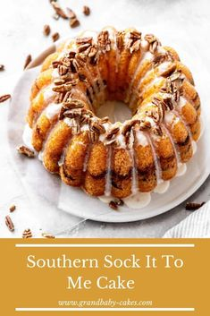 cake recipes This Southern Sock-It-To-Me Cake recipe pairs a moist and buttery cake texture with a cinnamon brown sugar pecan swirl that is to die for! The vanilla glaze brings it all together perfectly. Cake Mix Recipes, Pound Cake Recipes, Cupcake Recipes, Baking Recipes, Cupcake Cakes, Dessert Recipes, Cupcakes, Vanilla Bundt Cake Recipes, Breakfast Recipes