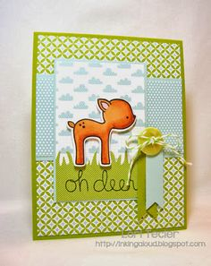 Lawn Fawn - Into the Woods Stamps and coordinating dies, 6x6 paper _ bright and cheerful card by Lori at Inking Aloud: Oh Deer