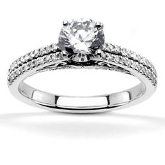 Pave Set Low Cathedral Diamond Engagement Ring