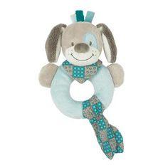 Hochet en forme d´anneau chien bleu en velours, Gaston & Cyril