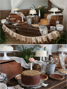 Rustic dessert table with homemade chocolate cakes.