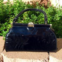 Sale   Black handbag vintage purse from the by LogicFreeVintage, $9.50
