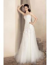 Trägerloses Romantisches Brautkleider aus Softnetz 1333 Amanda