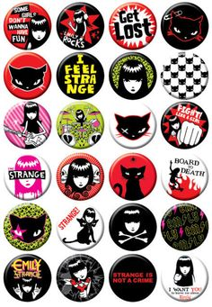 It's Emily the Strange button box from Badge Bomb! and Strange is not a crime! There's an assortment of 24 brand new button designs on one inch buttons. Single buttons are chosen randomly....with our
