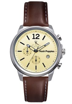 Hush Puppies Orbz Men's Automatic Watch with Beige Dial Analogue Display and Brown Leather Strap HP.6065M.2.2519: Amazon.co.uk: Watches