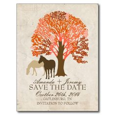 Orange and Brown Autumn Horses Save The Date Postcard