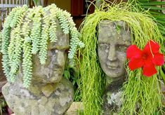 Head Planters and beautiful Garden accessories Head Planters, Cement Planters, Garden Planters, Garden Deco, Garden Art, Garden Design, Pergola Ideas For Patio, Deck With Pergola, Patio Plans
