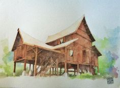 Malay Traditional Timber House. Watercolour. Architecture. Painting. Rumah Negeri Sembilan
