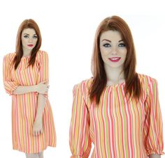 Mod Neon Dress 60s Sixties Striped 1960s 70s by neonthreadsdesigns, $46.00