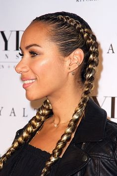 Leona Lewis  | French braided pigtails | The 50 Best Celebrity Braids of All Time | StyleCaster
