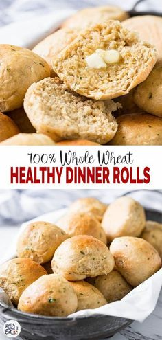 Healthy Whole Wheat Dinner Rolls - use this recipe to make easy, soft fluffy dinner rolls at home. Add fresh garlic and herbs to give them an absolute taste. The best part is no one will ever believe that these are made from whole wheat flour. Healthy Rolls, Healthy Bread Recipes, Baking Recipes, Eat Healthy, Dinner Healthy, Herb Recipes, Whole Wheat Biscuits, Whole Wheat Rolls, 100 Whole Wheat Bread