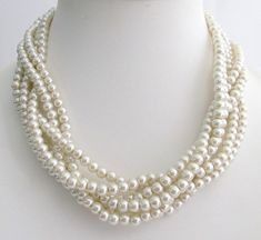 Twisted Pearl Necklace 6 Strand Ivory Necklace Wedding Pearl Statement  Bridal Necklace Bridesmaid Jewelry Free Shipping In USA