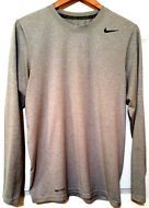 NIKE Dry Fit Men Grey athletic sports long sleeve SHIRT SIZE S Solid 100 polyes
