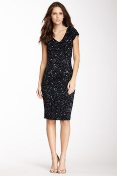 Theia Cap Sleeve Sequin Dress by Theia on @HauteLook
