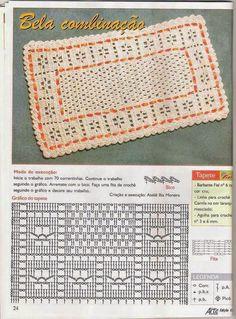 Crochet Chart Carpet In Crochet Crochet Mat, Crochet Rug Patterns, Crochet Diagram, Crochet Home, Filet Crochet, Crochet Stitches, Crochet Placemats, Crochet Doilies, Crochet Flowers