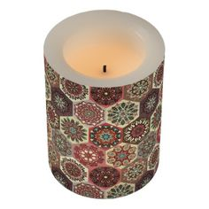 #Vintage patchwork with floral mandala elements flameless candle - #candle #candles #special #custom